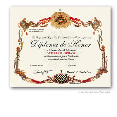 Diploma de Honor Masonico