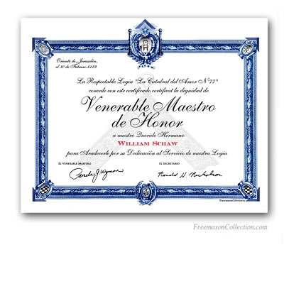 Diploma de Venerable Maestro de Honor