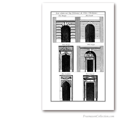 Orders of Architecture: Arches. Encyclopédie Diderot & d'Alembert. Masonic Art