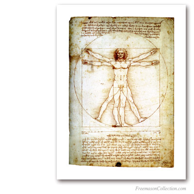 The Vitruvian Man. Leonardo da Vinci, circa 1490. Masonic Art
