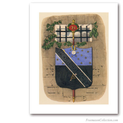 Coat of Arms of Noachite or Prussian Knight. 1837. 21° Grado del Rito Escocés. Masonic Art