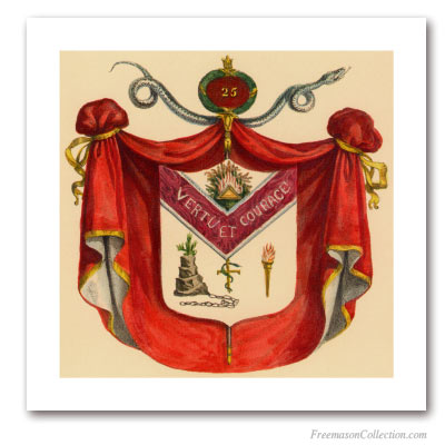 Coat of Arms of Knight of the Brazen Serpent. 1837. 25° Grado del Rito Escocés. Masonic Art