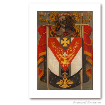 Armorial of Knight Rose-Croix. Circa 1930. 18° Grado del Rito Escocés. Masonic Art