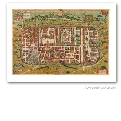 Imaginary Map of Jerusalem. Christiaan van Adrichem, 1584. Jerusalem and the Temple idealized. Masonic Art