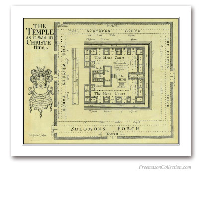 The Temple as it was in Christ time . Thomas Fuller, London, 1650. A splendid map of the Temple. Masonic Art