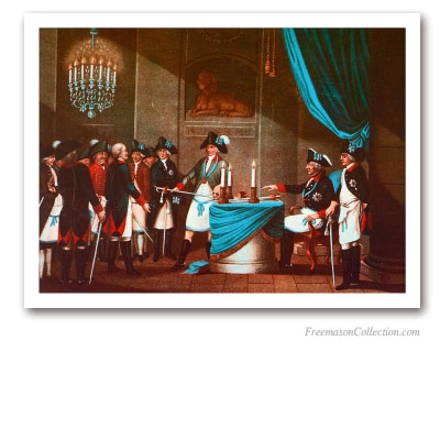 Initiation of the Margrave Frederic Von Bayreuth by King Frederic II of Prussia. Pinturas Masónicas